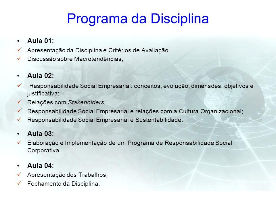 Programa da Disciplina Aula 01: Apresentação da Disciplina e Critérios de Avaliação. Discussão sobre Macrotendências; Aula 02: Responsabilidade Social