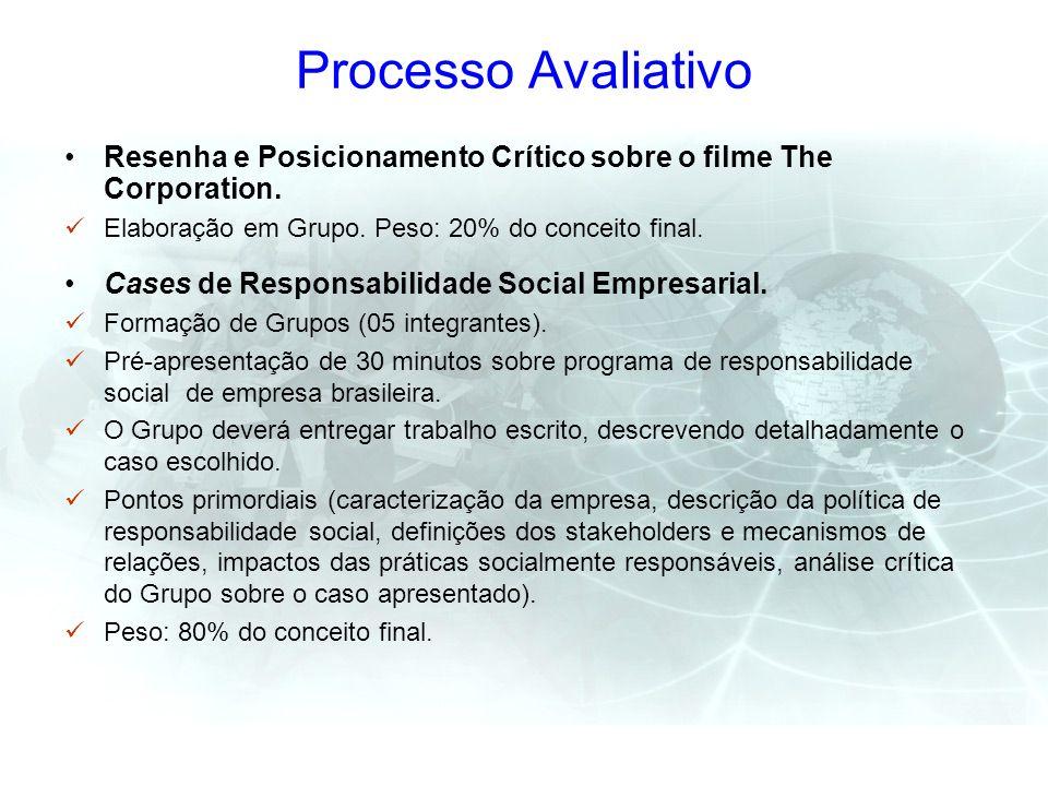 Processo Avaliativo Resenha e Posicionamento Crítico sobre o filme The Corporation. Elaboração em Grupo. Peso: 20% do conceito final. Cases de Respons