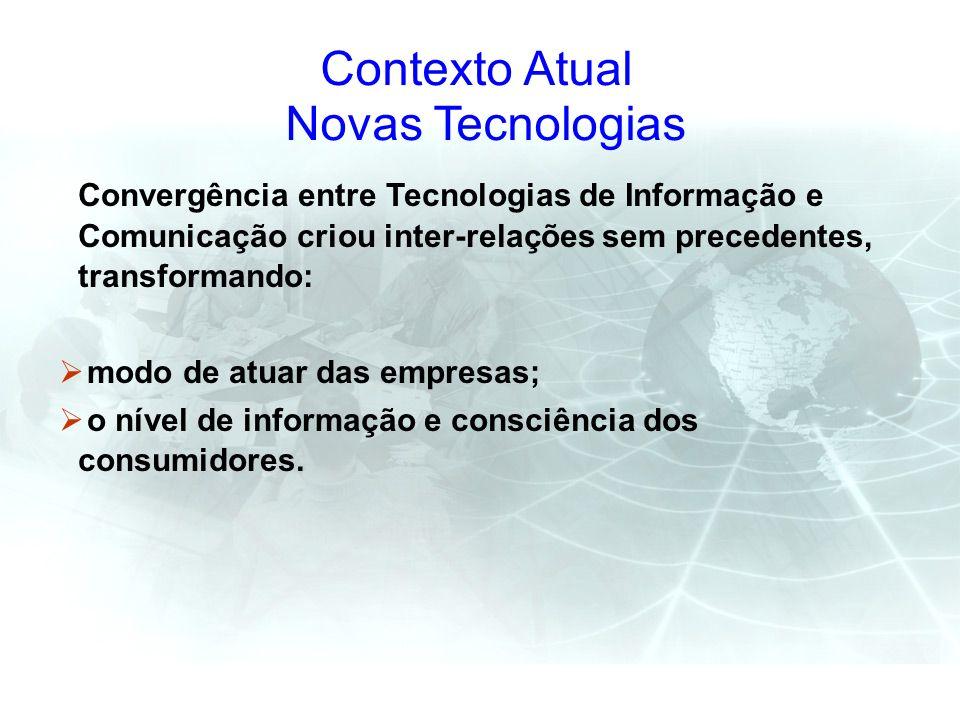 Convergência entre Tecnologias de Informação e Comunicação criou inter-relações sem precedentes, transformando: modo de atuar das empresas; o nível de
