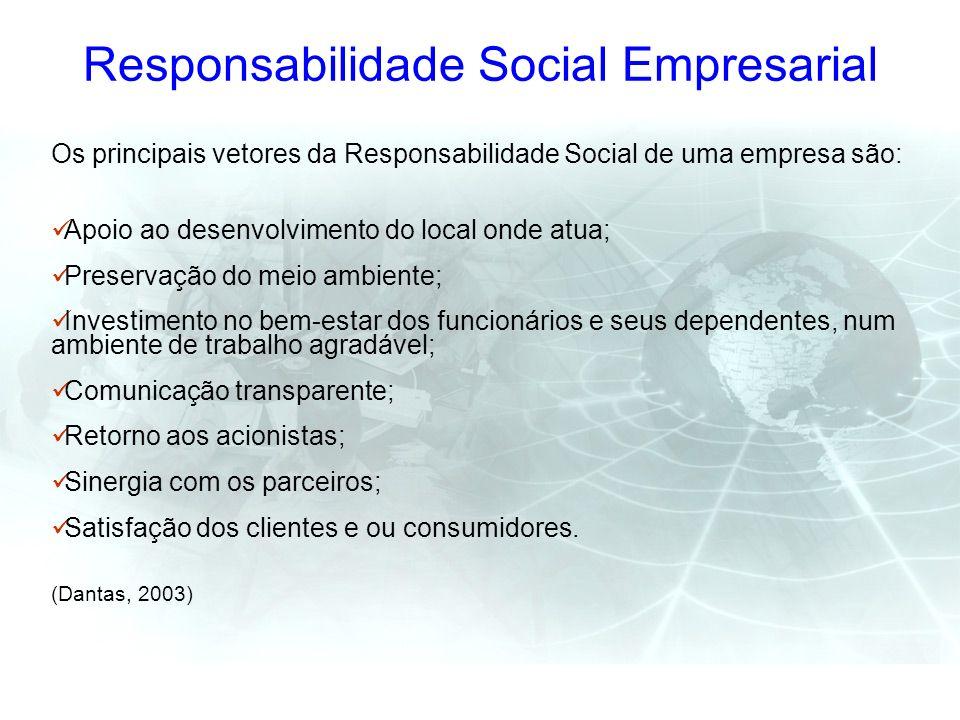 Responsabilidade Social Empresarial Os principais vetores da Responsabilidade Social de uma empresa são: Apoio ao desenvolvimento do local onde atua;