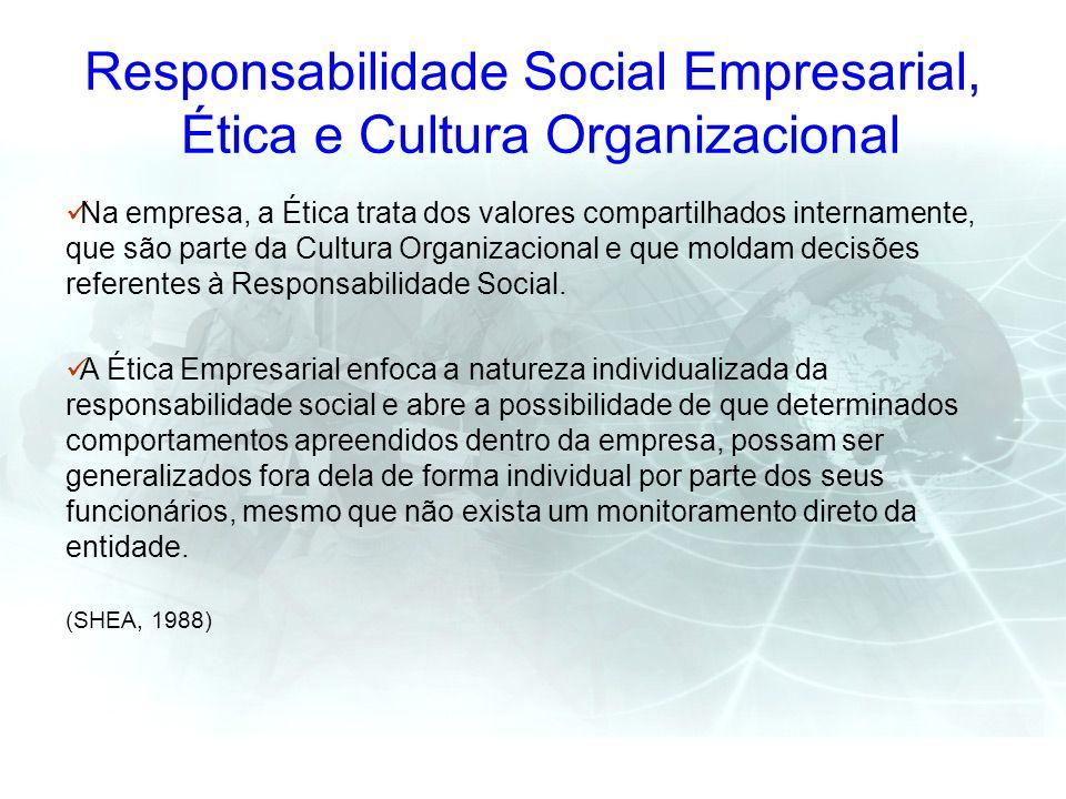 Responsabilidade Social Empresarial, Ética e Cultura Organizacional Na empresa, a Ética trata dos valores compartilhados internamente, que são parte d