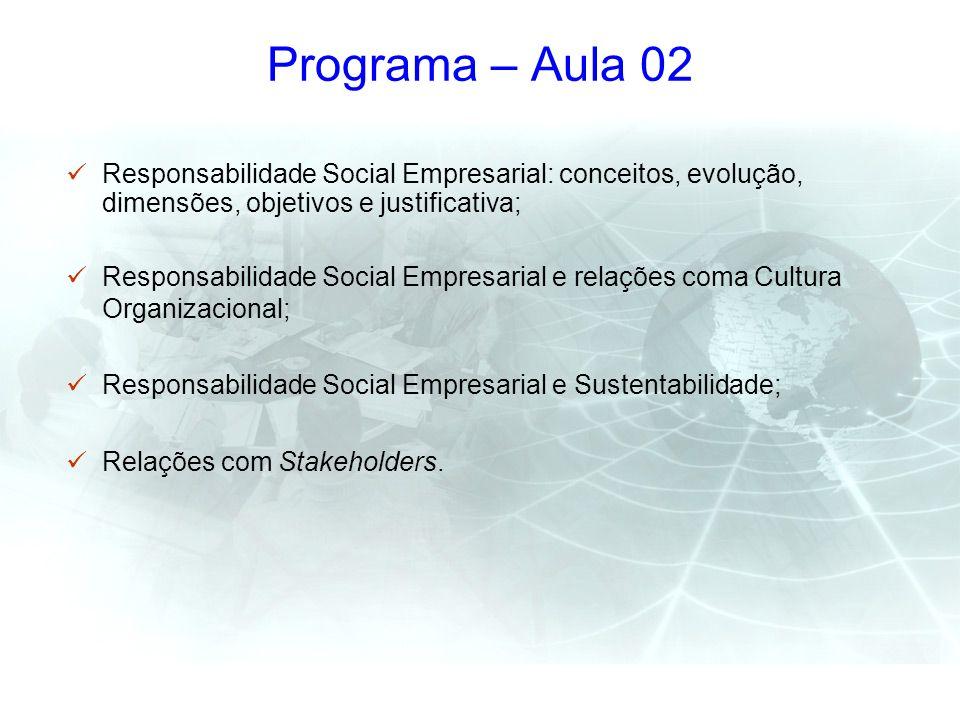 Programa – Aula 02 Responsabilidade Social Empresarial: conceitos, evolução, dimensões, objetivos e justificativa; Responsabilidade Social Empresarial