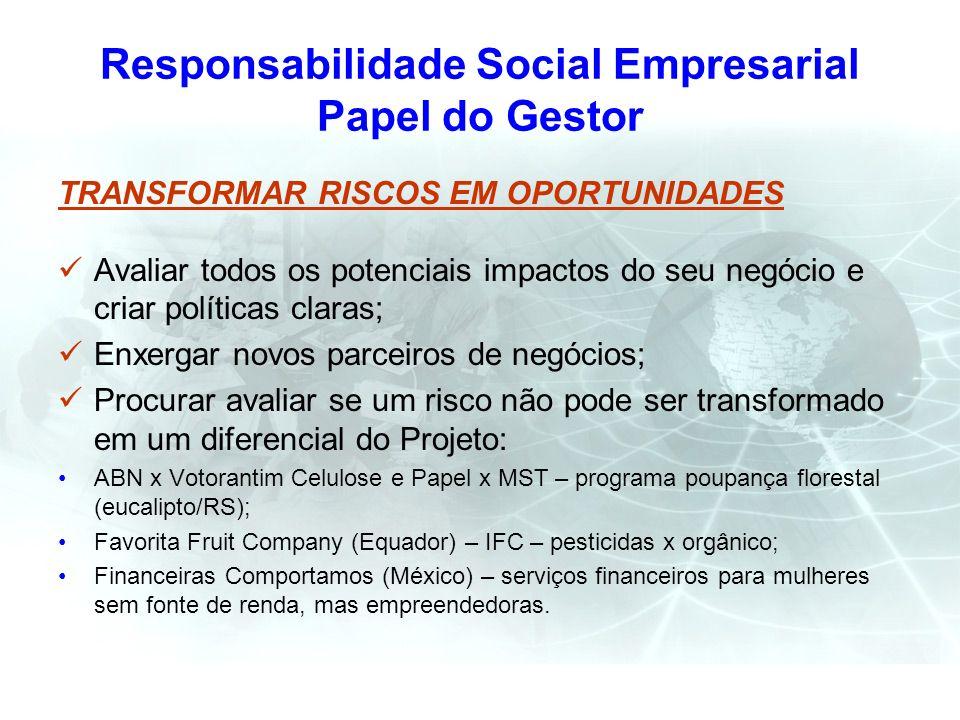 Responsabilidade Social Empresarial Papel do Gestor TRANSFORMAR RISCOS EM OPORTUNIDADES Avaliar todos os potenciais impactos do seu negócio e criar po