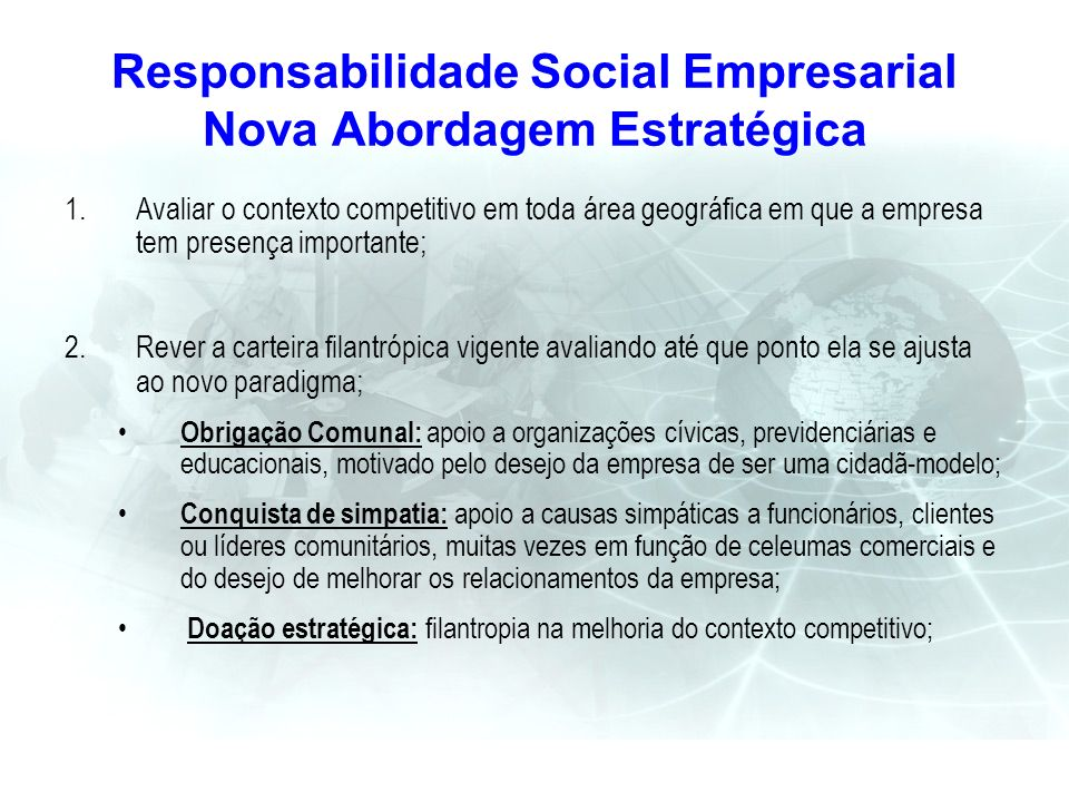 Responsabilidade Social Empresarial Nova Abordagem Estratégica 1.Avaliar o contexto competitivo em toda área geográfica em que a empresa tem presença