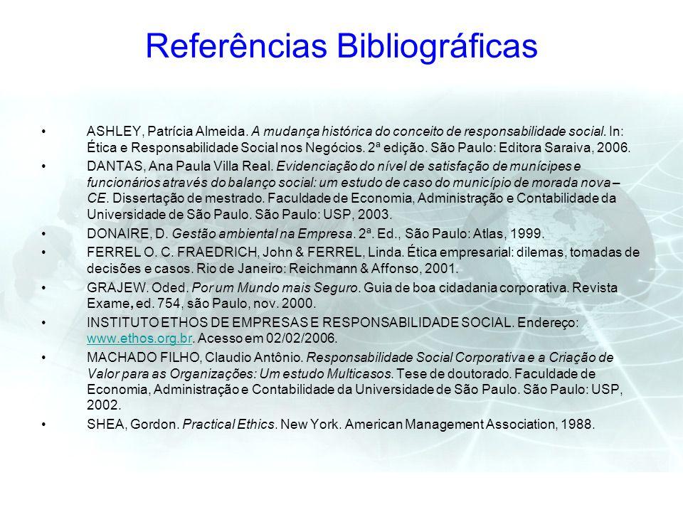 Referências Bibliográficas ASHLEY, Patrícia Almeida. A mudança histórica do conceito de responsabilidade social. In: Ética e Responsabilidade Social n
