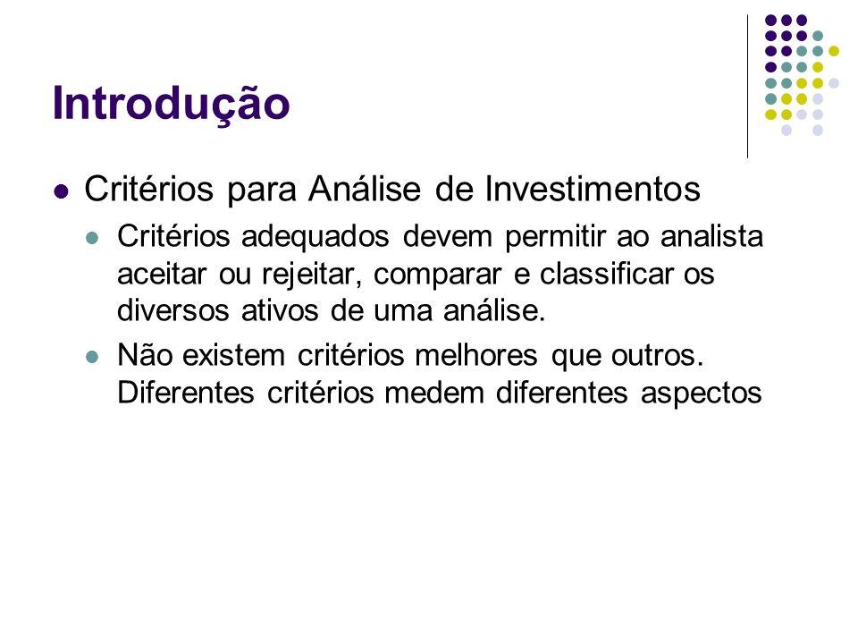 Introdução Critérios para Análise de Investimentos Critérios adequados devem permitir ao analista aceitar ou rejeitar, comparar e classificar os diver