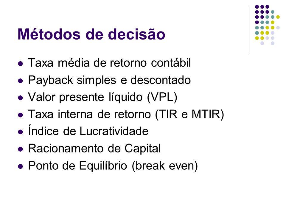 Métodos de decisão Taxa média de retorno contábil Payback simples e descontado Valor presente líquido (VPL) Taxa interna de retorno (TIR e MTIR) Índic