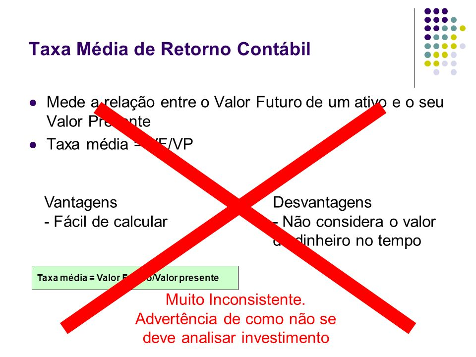 Taxa Média de Retorno Contábil Mede a relação entre o Valor Futuro de um ativo e o seu Valor Presente Taxa média = VF/VP Vantagens - Fácil de calcular
