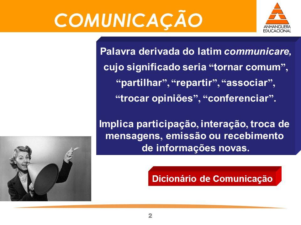 2 COMUNICAÇÃO Palavra derivada do latim communicare, cujo significado seria tornar comum, partilhar, repartir, associar, trocar opiniões, conferenciar.