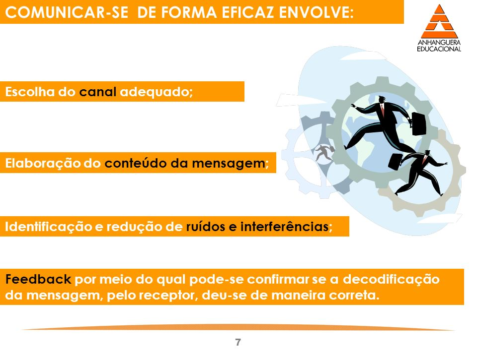 7 COMUNICAR-SE DE FORMA EFICAZ ENVOLVE: Elaboração do conteúdo da mensagem; Escolha do canal adequado; Feedback por meio do qual pode-se confirmar se a decodificação da mensagem, pelo receptor, deu-se de maneira correta.