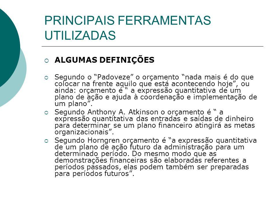 PRINCIPAIS FERRAMENTAS UTILIZADAS MAIS ALGUMAS DEFINIÇÕES Segundo Garrison e Noreen o orçamento é um plano detalhado de aquisição e do uso de recursos financeiros e de outra natureza, durante um período especificado.