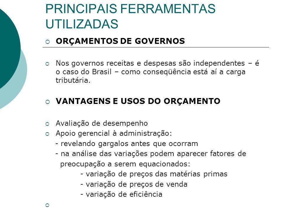 PRINCIPAIS FERRAMENTAS UTILIZADAS ORÇAMENTOS DE GOVERNOS Nos governos receitas e despesas são independentes – é o caso do Brasil – como conseqüência e