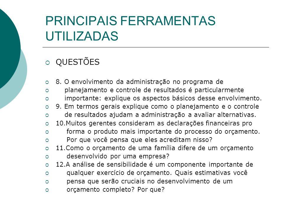 PRINCIPAIS FERRAMENTAS UTILIZADAS QUESTÕES 8. O envolvimento da administração no programa de planejamento e controle de resultados é particularmente i