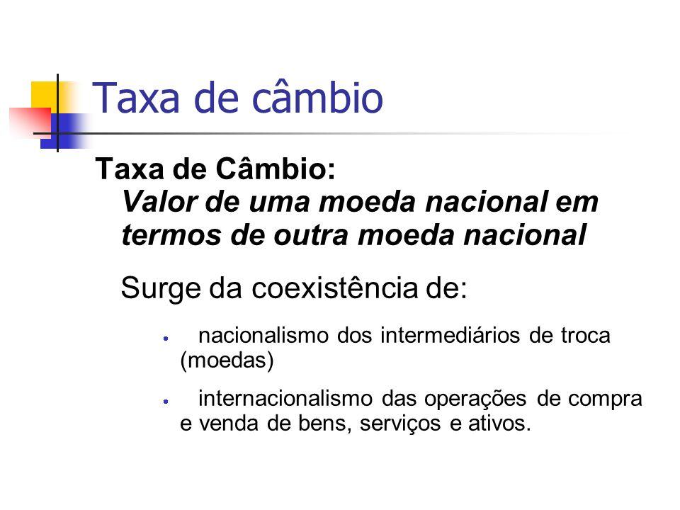 Taxa de câmbio Taxa de Câmbio: Valor de uma moeda nacional em termos de outra moeda nacional Surge da coexistência de: nacionalismo dos intermediários