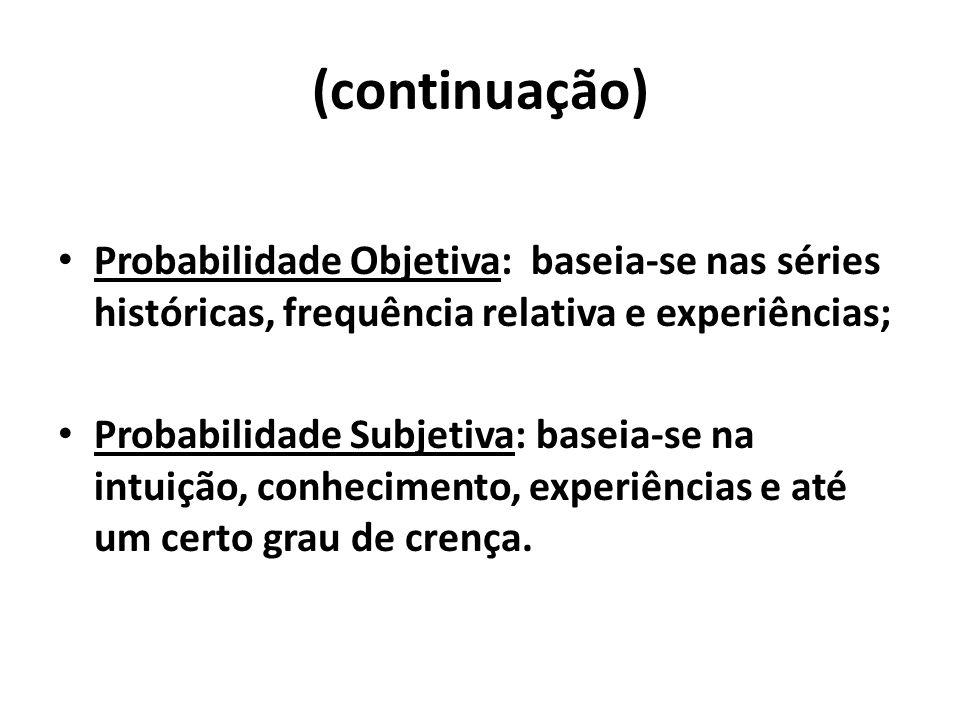 (continuação) Probabilidade Objetiva: baseia-se nas séries históricas, frequência relativa e experiências; Probabilidade Subjetiva: baseia-se na intui