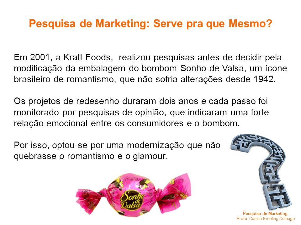 Pesquisa de Marketing Profa. Camila Krohling Colnago Em 2001, a Kraft Foods, realizou pesquisas antes de decidir pela modificação da embalagem do bomb