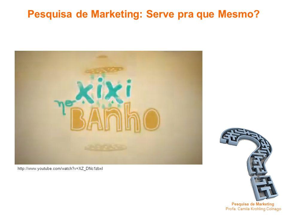 Pesquisa de Marketing Profa. Camila Krohling Colnago Pesquisa de Marketing: Serve pra que Mesmo? http://www.youtube.com/watch?v=XZ_DNc1zbxI