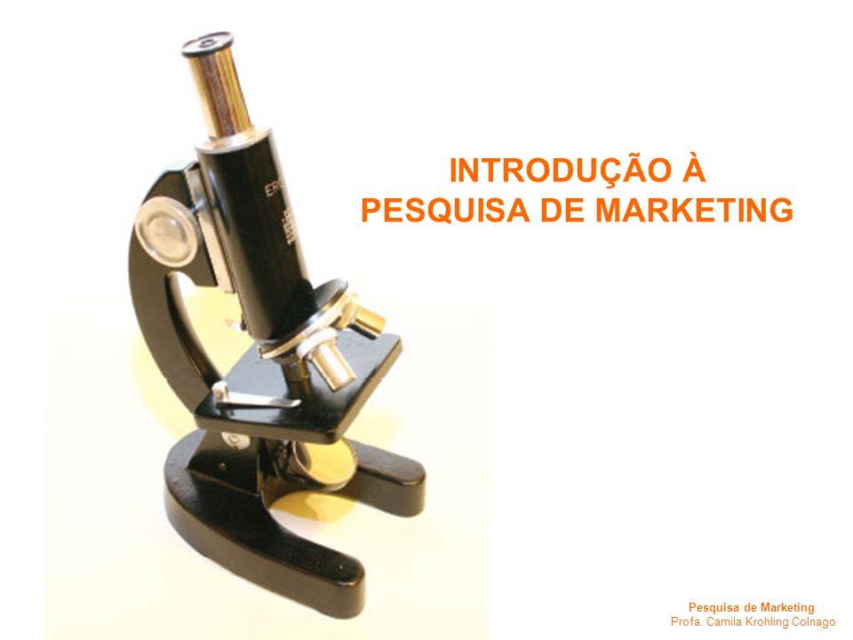 Pesquisa de Marketing Profa. Camila Krohling Colnago INTRODUÇÃO À PESQUISA DE MARKETING