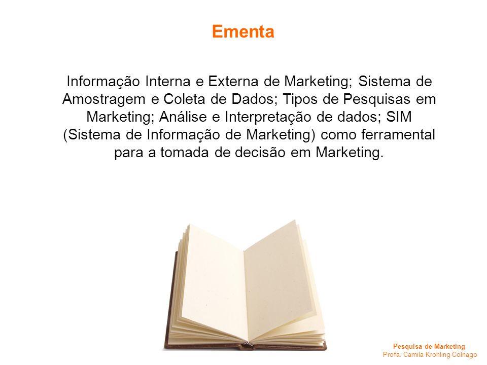 Pesquisa de Marketing Profa. Camila Krohling Colnago Informação Interna e Externa de Marketing; Sistema de Amostragem e Coleta de Dados; Tipos de Pesq
