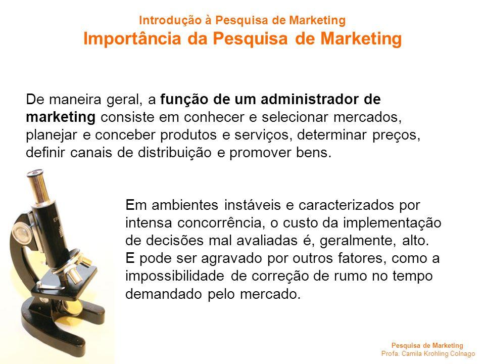 Pesquisa de Marketing Profa. Camila Krohling Colnago Introdução à Pesquisa de Marketing Importância da Pesquisa de Marketing De maneira geral, a funçã