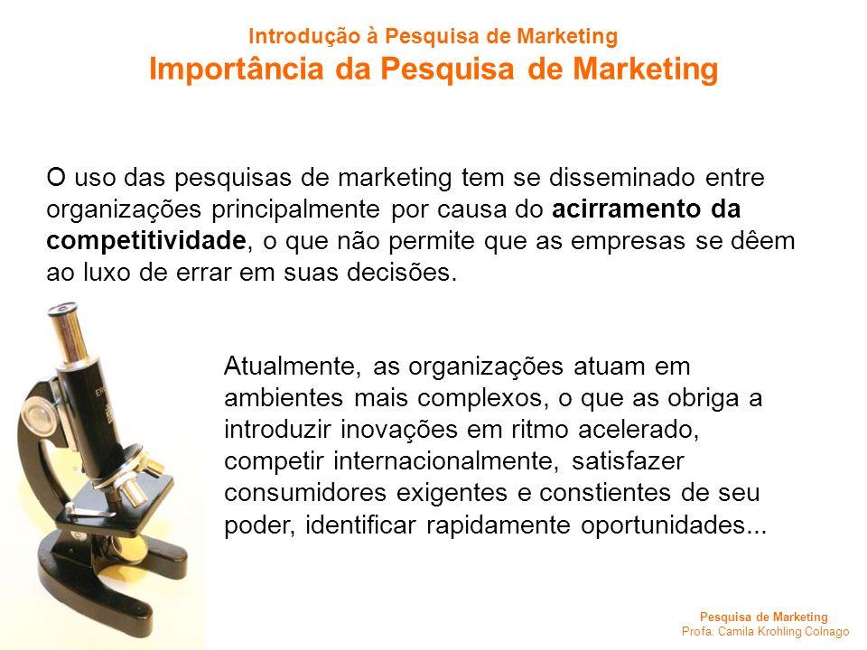 Pesquisa de Marketing Profa. Camila Krohling Colnago O uso das pesquisas de marketing tem se disseminado entre organizações principalmente por causa d
