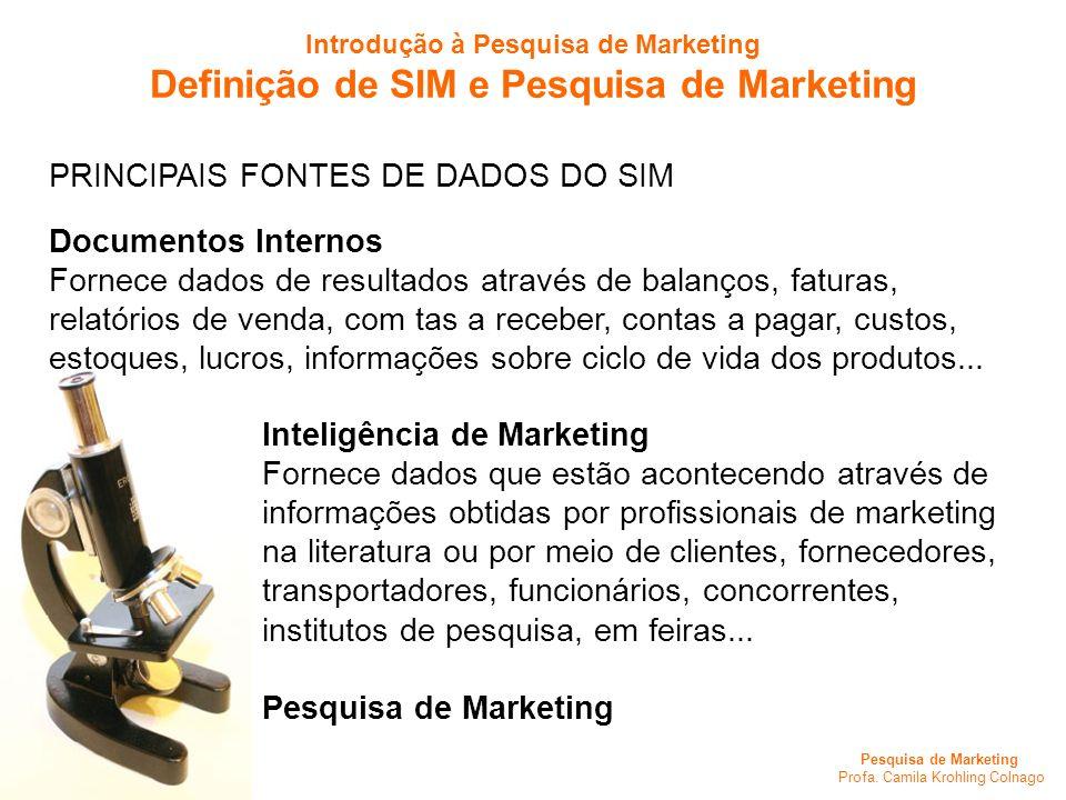Pesquisa de Marketing Profa. Camila Krohling Colnago PRINCIPAIS FONTES DE DADOS DO SIM Documentos Internos Fornece dados de resultados através de bala