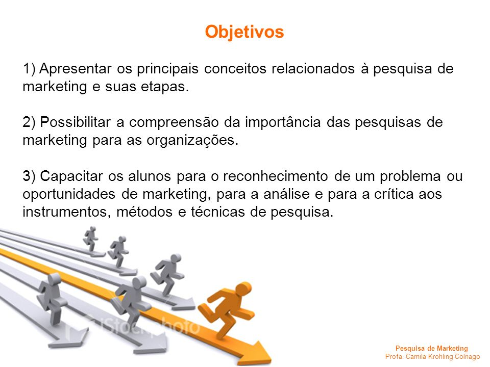 Pesquisa de Marketing Profa. Camila Krohling Colnago 1) Apresentar os principais conceitos relacionados à pesquisa de marketing e suas etapas. 2) Poss