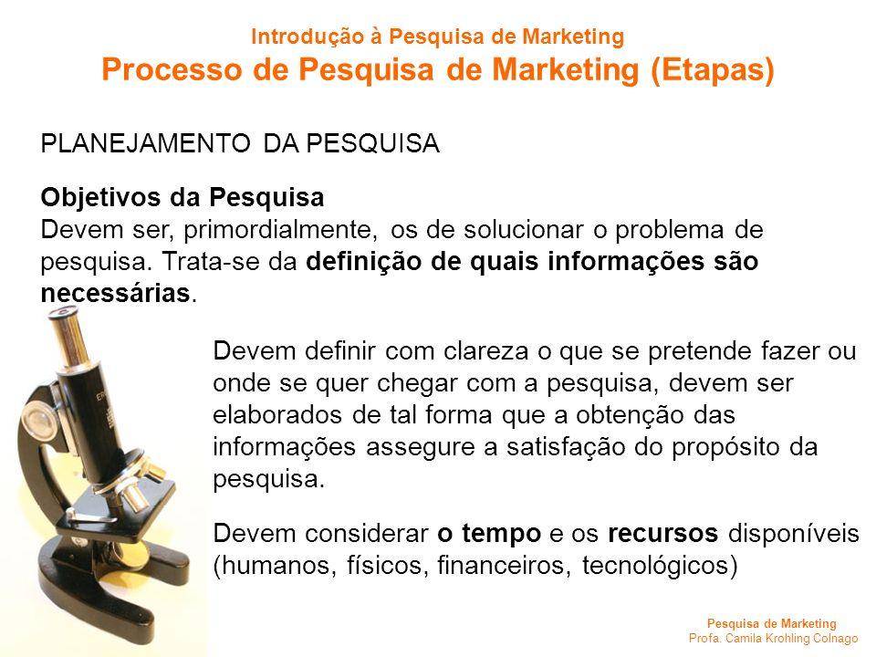 Pesquisa de Marketing Profa. Camila Krohling Colnago PLANEJAMENTO DA PESQUISA Objetivos da Pesquisa Devem ser, primordialmente, os de solucionar o pro