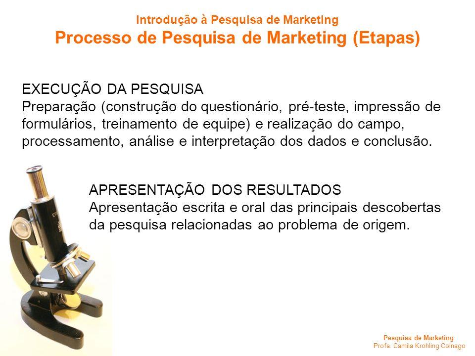 Pesquisa de Marketing Profa. Camila Krohling Colnago EXECUÇÃO DA PESQUISA Preparação (construção do questionário, pré-teste, impressão de formulários,