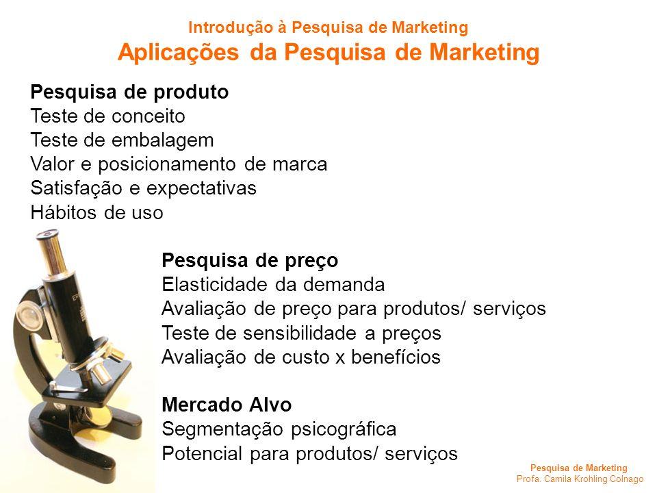 Pesquisa de Marketing Profa. Camila Krohling Colnago Pesquisa de produto Teste de conceito Teste de embalagem Valor e posicionamento de marca Satisfaç