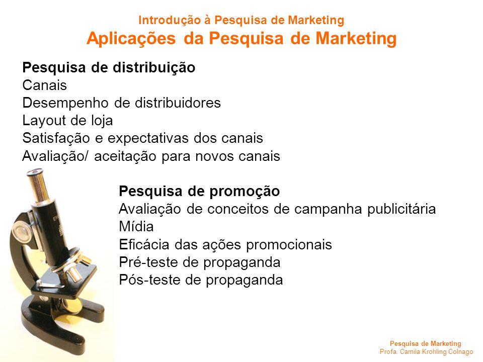 Pesquisa de Marketing Profa. Camila Krohling Colnago Pesquisa de distribuição Canais Desempenho de distribuidores Layout de loja Satisfação e expectat