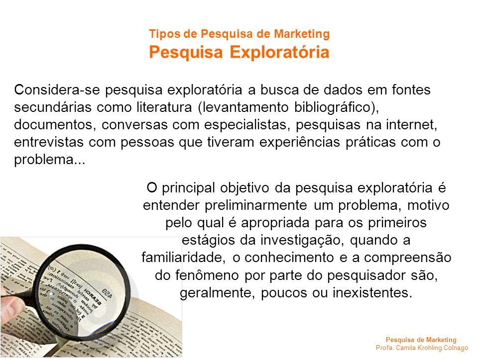 Pesquisa de Marketing Profa. Camila Krohling Colnago Tipos de Pesquisa de Marketing Pesquisa Exploratória Considera-se pesquisa exploratória a busca d
