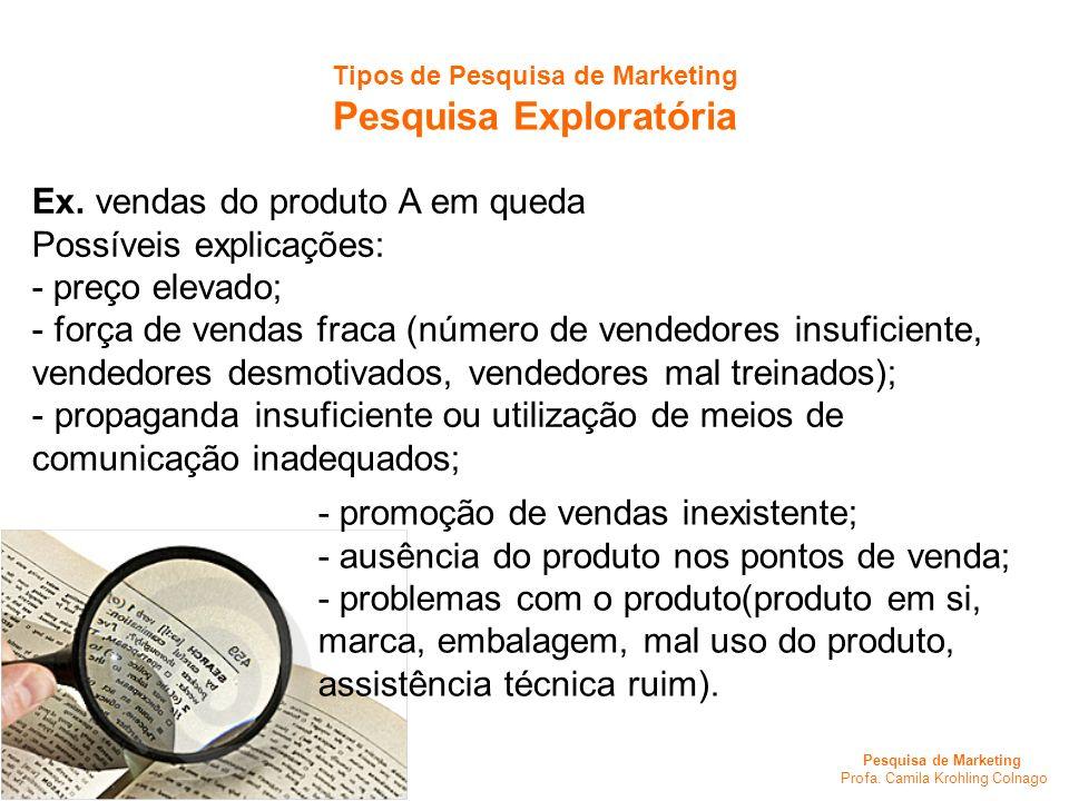 Pesquisa de Marketing Profa. Camila Krohling Colnago Tipos de Pesquisa de Marketing Pesquisa Exploratória Ex. vendas do produto A em queda Possíveis e