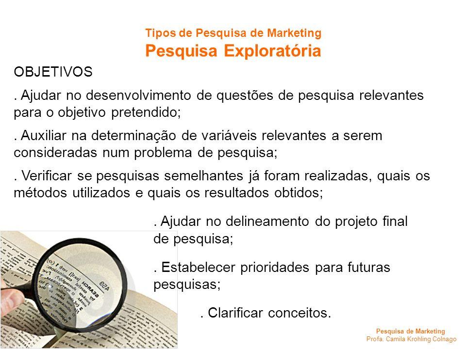Pesquisa de Marketing Profa. Camila Krohling Colnago Tipos de Pesquisa de Marketing Pesquisa Exploratória OBJETIVOS. Ajudar no desenvolvimento de ques