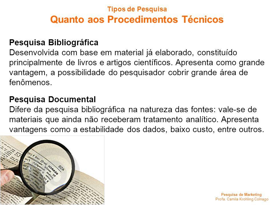 Pesquisa de Marketing Profa. Camila Krohling Colnago Tipos de Pesquisa Quanto aos Procedimentos Técnicos Pesquisa Bibliográfica Desenvolvida com base