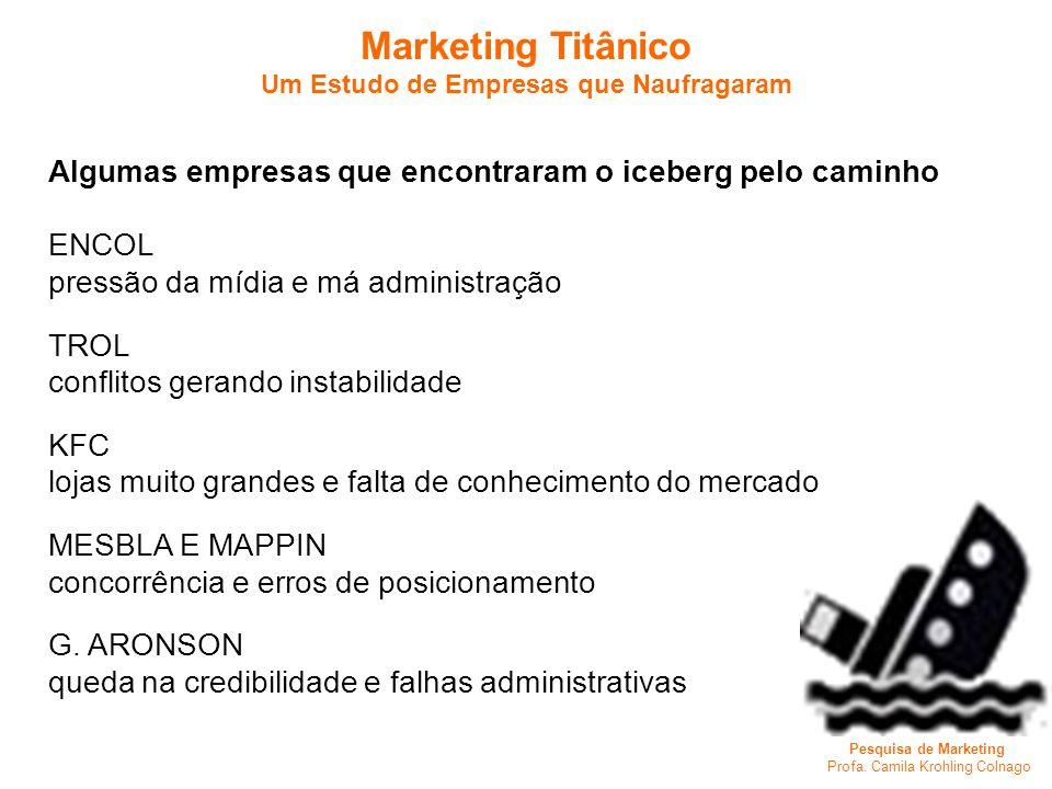 Pesquisa de Marketing Profa. Camila Krohling Colnago Marketing Titânico Um Estudo de Empresas que Naufragaram Algumas empresas que encontraram o icebe