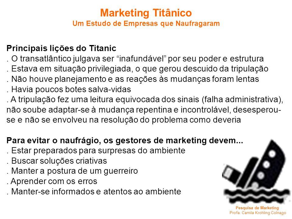 Pesquisa de Marketing Profa. Camila Krohling Colnago Marketing Titânico Um Estudo de Empresas que Naufragaram Principais lições do Titanic. O transatl