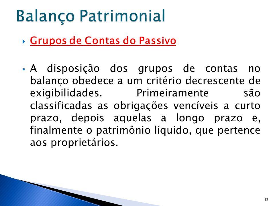 Grupos de Contas do Passivo A disposição dos grupos de contas no balanço obedece a um critério decrescente de exigibilidades. Primeiramente são classi