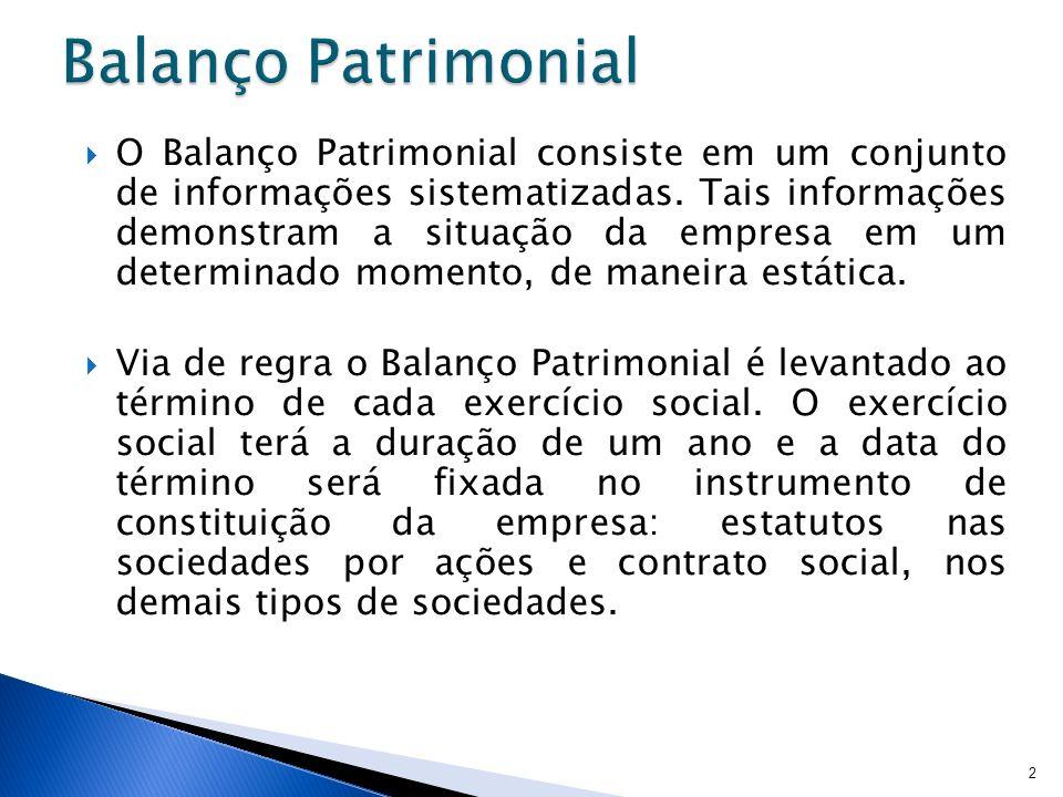 O Balanço Patrimonial consiste em um conjunto de informações sistematizadas. Tais informações demonstram a situação da empresa em um determinado momen