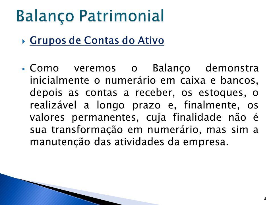 Grupos de Contas do Ativo Como veremos o Balanço demonstra inicialmente o numerário em caixa e bancos, depois as contas a receber, os estoques, o real