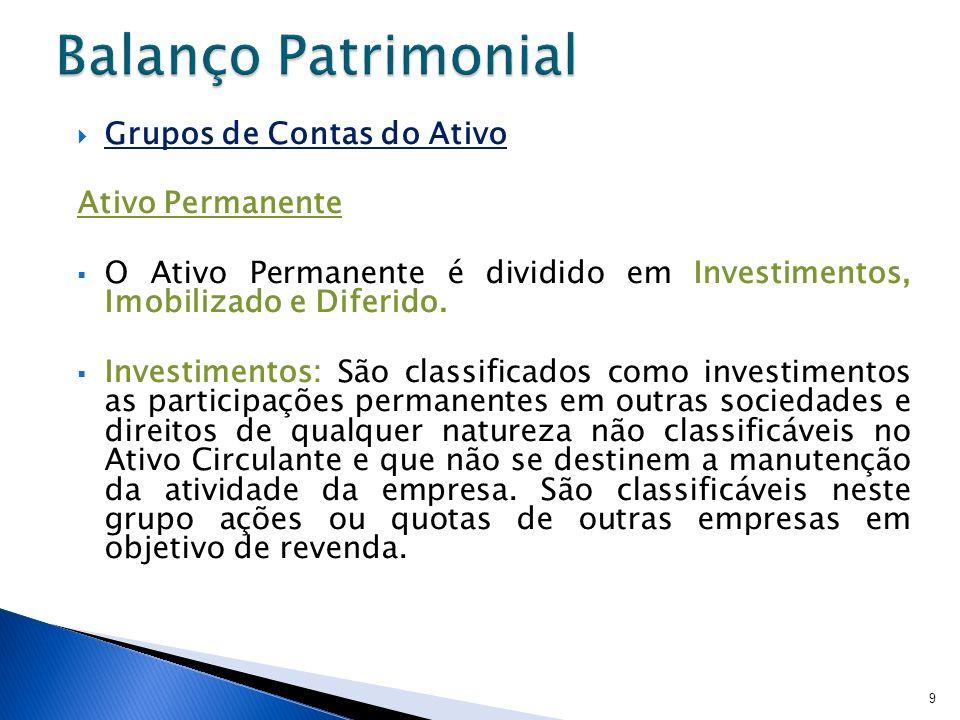 Grupos de Contas do Ativo Ativo Permanente O Ativo Permanente é dividido em Investimentos, Imobilizado e Diferido. Investimentos: São classificados co