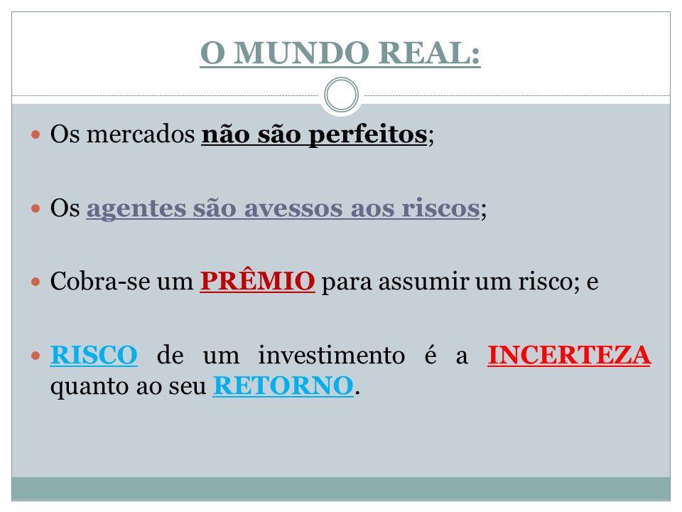O MUNDO REAL: Os mercados não são perfeitos; Os agentes são avessos aos riscos; Cobra-se um PRÊMIO para assumir um risco; e RISCO de um investimento é