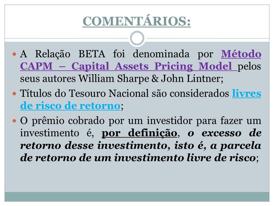 COMENTÁRIOS: A Relação BETA foi denominada por Método CAPM – Capital Assets Pricing Model pelos seus autores William Sharpe & John Lintner; Títulos do