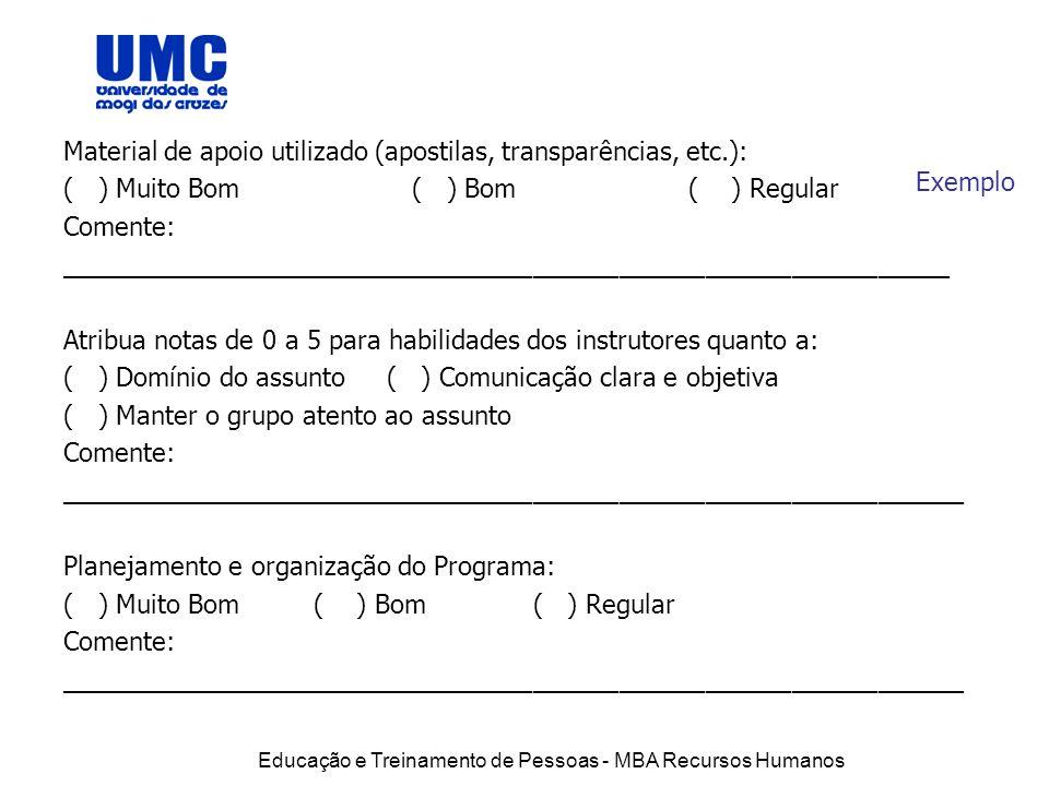 Educação e Treinamento de Pessoas - MBA Recursos Humanos Exemplo Material de apoio utilizado (apostilas, transparências, etc.): ( ) Muito Bom ( ) Bom