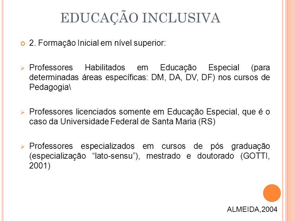 2. Formação Inicial em nível superior: Professores Habilitados em Educação Especial (para determinadas áreas específicas: DM, DA, DV, DF) nos cursos d