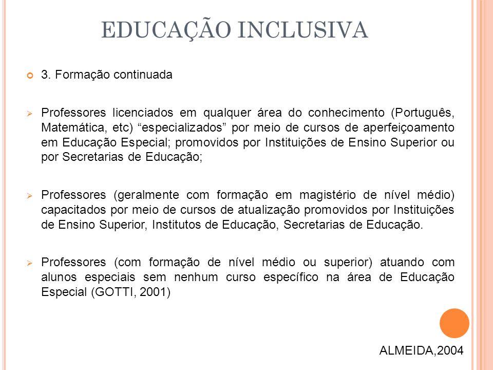 3. Formação continuada Professores licenciados em qualquer área do conhecimento (Português, Matemática, etc) especializados por meio de cursos de aper