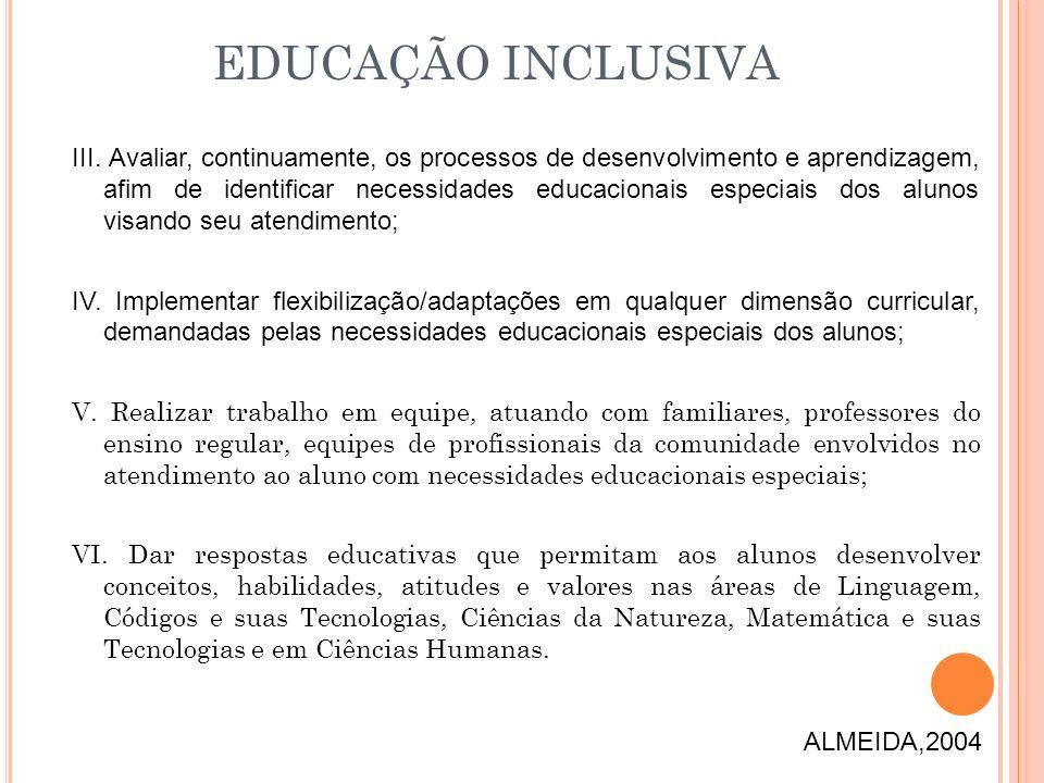 III. Avaliar, continuamente, os processos de desenvolvimento e aprendizagem, afim de identificar necessidades educacionais especiais dos alunos visand