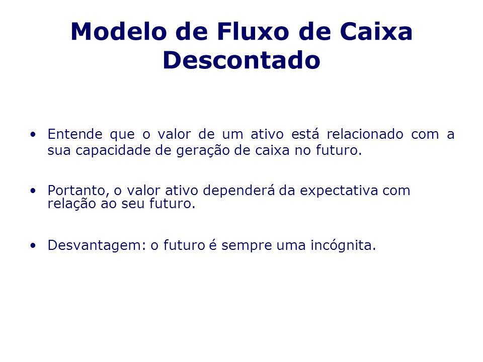Modelo de Fluxo de Caixa Descontado Entende que o valor de um ativo está relacionado com a sua capacidade de geração de caixa no futuro. Portanto, o v