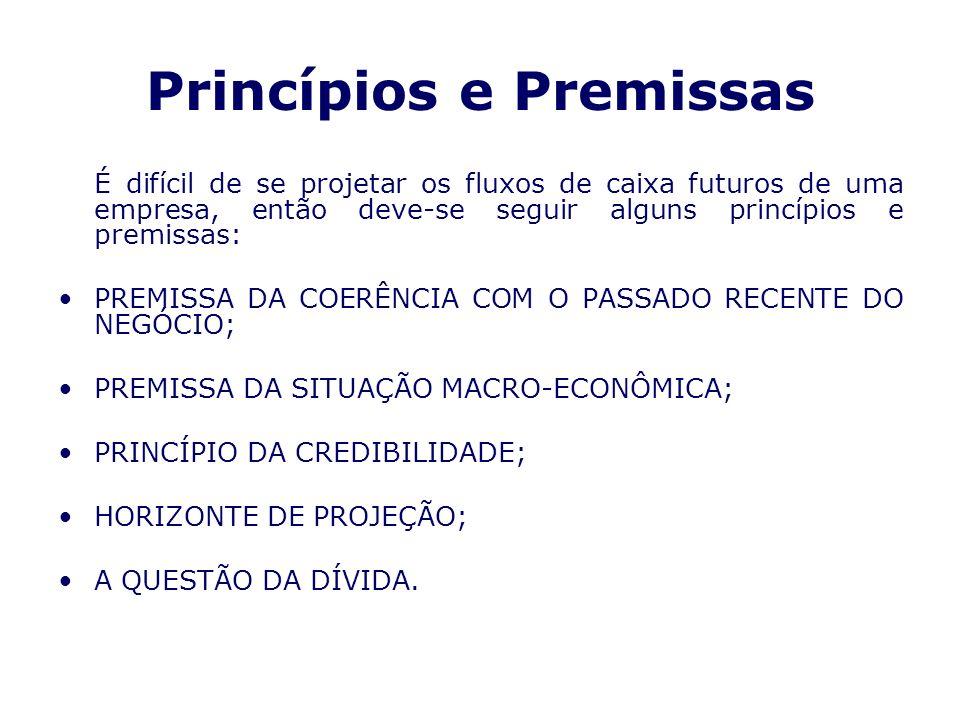 Princípios e Premissas É difícil de se projetar os fluxos de caixa futuros de uma empresa, então deve-se seguir alguns princípios e premissas: PREMISS