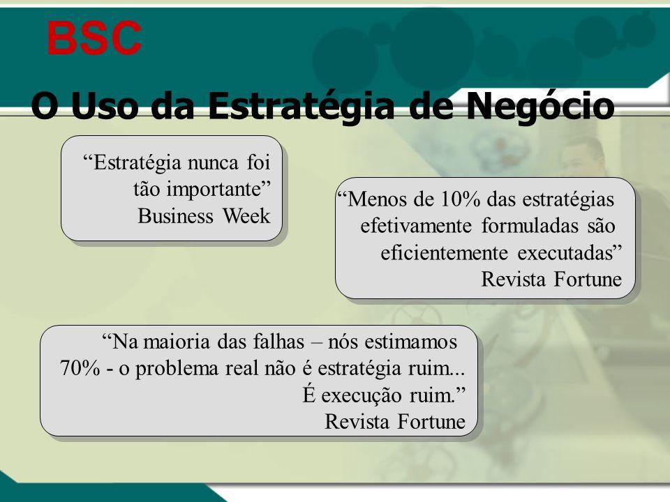 BSC O Uso da Estratégia de Negócio Estratégia nunca foi tão importante Business Week Menos de 10% das estratégias efetivamente formuladas são eficient